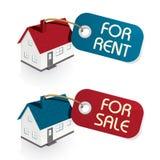 Σπίτι για την πώληση και για τις ετικέττες μισθώματος Στοκ εικόνες με δικαίωμα ελεύθερης χρήσης
