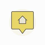 Σπίτι για το ζωηρόχρωμο εικονίδιο πώλησης διανυσματική απεικόνιση