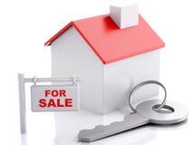 Σπίτι για το σημάδι πώλησης στο άσπρο υπόβαθρο κτήμα έννοιας πραγματικό απεικόνιση αποθεμάτων