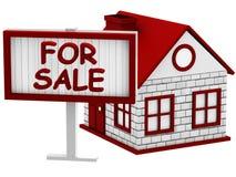 Σπίτι για το σημάδι πώλησης Στοκ εικόνα με δικαίωμα ελεύθερης χρήσης