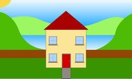 Σπίτι δίπλα στη λίμνη ελεύθερη απεικόνιση δικαιώματος