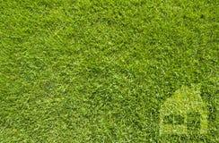Σπίτι εικονιδίων στην πράσινη χλόη Στοκ Φωτογραφίες
