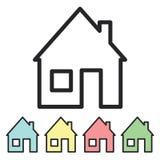 Σπίτι εικονιδίων Τυποποιημένο εγχώριο λογότυπο Ένα ελάχιστο σύνολο σπιτιών Στοκ Φωτογραφία