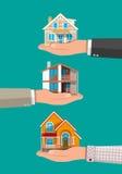 Σπίτι εκμετάλλευσης χεριών επιχειρηματιών τα επίπεδα κτημάτων στεγάζουν την πραγματική πώληση μισθώματος απεικόνιση αποθεμάτων