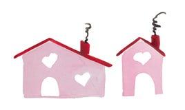 Σπίτι ημέρας ` βαλεντίνων ` s του ST Watercolor της αγάπης ` η θέση όπου η αγάπη σας είναι στοκ φωτογραφία με δικαίωμα ελεύθερης χρήσης