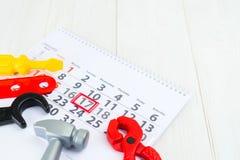 Σπίτι ημέρας εφευρετών ` παιδιών ημερολογιακού στις 17 Ιανουαρίου έννοιας ενός childr Στοκ Εικόνες