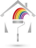 Σπίτι και κύλινδρος ζωγραφικής, ακίνητη περιουσία και λογότυπο ζωγράφων απεικόνιση αποθεμάτων