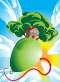 Σπίτι και πράσινο δέντρο που επιπλέουν σε ένα μπαλόνι ελεύθερη απεικόνιση δικαιώματος