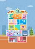 Σπίτι κατά την κομμένη άποψη με το λεπτομερές εσωτερικό και τα έπιπλα ελεύθερη απεικόνιση δικαιώματος