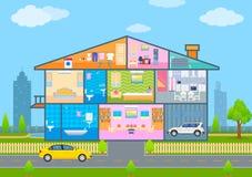 Σπίτι κατά την κομμένη άποψη με το λεπτομερές εσωτερικό και τα έπιπλα διανυσματική απεικόνιση