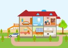 Σπίτι κατά την κομμένη άποψη με το λεπτομερές εσωτερικό και τα έπιπλα απεικόνιση αποθεμάτων