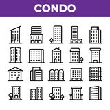 Σπίτι κατοικιών, γραμμικά διανυσματικά εικονίδια Condo καθορισμένα διανυσματική απεικόνιση