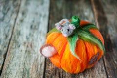 Σπίτι κολοκύθας Felted για ένα χαριτωμένο ποντίκι βελούδου Στοκ εικόνες με δικαίωμα ελεύθερης χρήσης