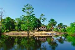 Σπίτι κλίσης στον ποταμό του Αμαζονίου Στοκ Εικόνες