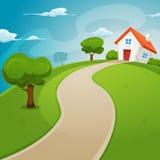 Σπίτι μέσα στους πράσινους τομείς απεικόνιση αποθεμάτων