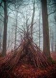 Σπίτι μαγισσών στο δάσος με την ομίχλη στοκ εικόνες
