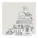 Σπίτι μελοψωμάτων, καλά κινούμενα σχέδια Castle, που γίνεται από τα γλυκά, Cand Στοκ εικόνες με δικαίωμα ελεύθερης χρήσης