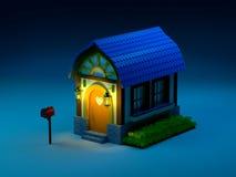 Σπίτι με μια ταχυδρομική θυρίδα τη νύχτα διανυσματική απεικόνιση