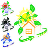 Σπίτι με πράσινες εγκαταστάσεις ελεύθερη απεικόνιση δικαιώματος