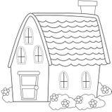 Σπίτι με τις εγκαταστάσεις που χρωματίζουν τη σελίδα Στοκ Εικόνα