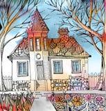 Σπίτι με τον πύργο και διακοσμητική στέγη στον κήπο με τα λουλούδια και τα δέντρα Στοκ Εικόνες