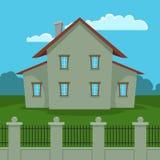Σπίτι με το φράκτη Στοκ Εικόνα