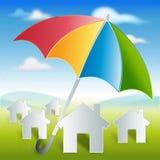 Σπίτι-με-χρώμα-ομπρέλα-προστασία-και-ασφάλεια Στοκ Εικόνες