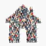 Σπίτι μορφής ομάδας ανθρώπων Στοκ Φωτογραφία