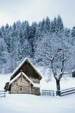 Σπίτι ξυλείας στο χιονώδες τοπίο Στοκ φωτογραφία με δικαίωμα ελεύθερης χρήσης