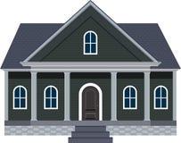 Σπίτι ονείρου ύφους της Νέας Αγγλίας με τη μεγάλη μπροστινή απεικόνιση μερών στοκ φωτογραφία με δικαίωμα ελεύθερης χρήσης