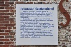 Σπίτι πινακίδων του Benjamin Franklin από τη Φιλαδέλφεια στην Πενσυλβανία ΗΠΑ Στοκ εικόνες με δικαίωμα ελεύθερης χρήσης