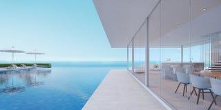 Σπίτι πολυτέλειας με την άποψη θάλασσας διανυσματική απεικόνιση