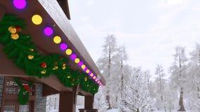 Σπίτι που διακοσμείται αγροτικό από την κινηματογράφηση σε πρώτο πλάνο φω'των Χριστουγέννων διανυσματική απεικόνιση