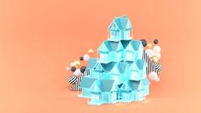 Σπίτι που επιπλέει μεταξύ των ζωηρόχρωμων σφαιρών στο πορτοκαλί υπόβαθρο διανυσματική απεικόνιση