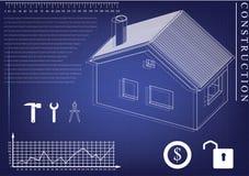 Σπίτι που επισύρει την προσοχή σε ένα μπλε υπόβαθρο Στοκ Εικόνα