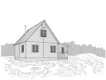 Σπίτι που ευθυγραμμίζεται ξύλινο με να πλαισιώσει Ένα καλό μέρος για την του χωριού ζωή Στοκ Φωτογραφίες