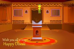 Σπίτι που διακοσμείται ινδικό με το diya στη νύχτα Diwali ελεύθερη απεικόνιση δικαιώματος