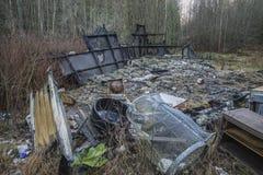 Σπίτι που καίγεται στο έδαφος Στοκ Εικόνες