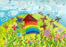 σπίτι που χρωματίζεται Στοκ φωτογραφίες με δικαίωμα ελεύθερης χρήσης