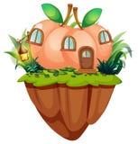 Σπίτι ροδάκινων στον απότομο βράχο διανυσματική απεικόνιση