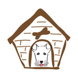 Σπίτι σκυλιών και σκυλί σε το συρμένες γυναίκες απεικόνισης s χεριών προσώπου Στοκ Εικόνες