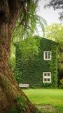 Σπίτι στην επαρχία με τον τοίχο εγκαταστάσεων Coatbuttons μεταξύ του πράσινου natu Στοκ Εικόνα