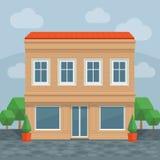 Σπίτι στην οδό, μπροστινή άποψη μπροστινό σπίτι Διανυσματικό deta κινούμενων σχεδίων Απεικόνιση αποθεμάτων