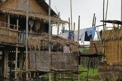 Σπίτι στη λίμνη Inle στη Βιρμανία, Ασία Στοκ Εικόνες
