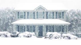 Σπίτι στη χειμερινή χιονοθύελλα