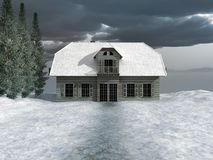 Σπίτι στη χιονώδη κοιλάδα Στοκ φωτογραφία με δικαίωμα ελεύθερης χρήσης