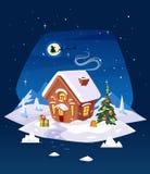 Σπίτι στο δάσος Κάρτα Χριστουγέννων, αφίσα ή Στοκ Φωτογραφίες