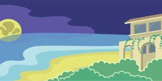 Σπίτι στο σεληνόφωτο παραλιών Στοκ Εικόνες