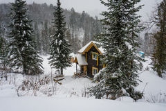 Σπίτι στο χειμερινό δάσος Στοκ φωτογραφία με δικαίωμα ελεύθερης χρήσης