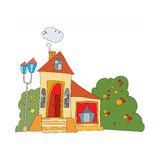Σπίτι στο ύφος κινούμενων σχεδίων Στοκ Εικόνα